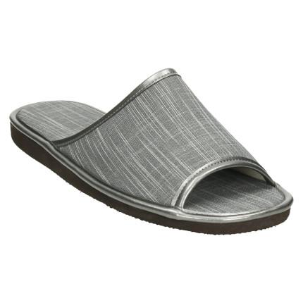 Zapatillas de casa de verano para hombre con puntera abierta y tela en color gris