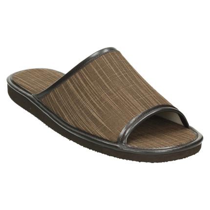 Zapatillas de casa de verano para hombre con puntera abierta y tela en color marrón