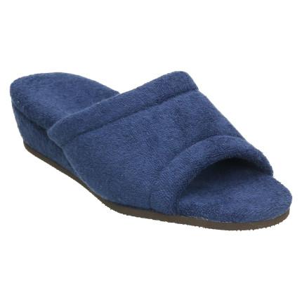 Zapatillas anatómicas de casa de algódon de toalla en color azul marino con cuña forrada al tono