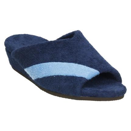Zapatillas de casa de rizo en azul marino con tira diagonal en azul claro, cuña muy ligera