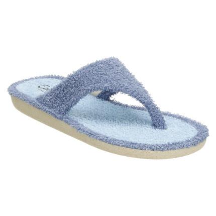 Zapatillas de casa de dedo fabricadas en toalla azul claro