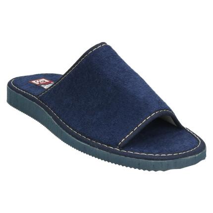 Zapatillas de casa de verano para hombre con la puntera abierta y toalla en color azul marino