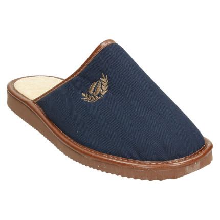 Zapatillas de casa de hombre de primavera de puntera cerrada para hombre de tela en azul marino