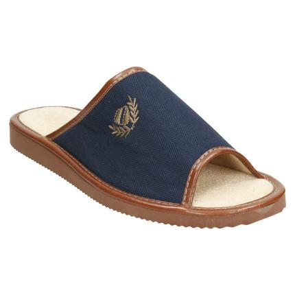 Zapatillas de casa de hombre de primavera de puntera abierta para hombre de tela en azul marino