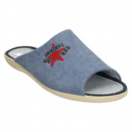 Zapatillas de casa de verano para hombre con estrella bordada sobre tela