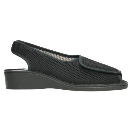 Sandalias de tela de rejilla con velcro adaptable a pies anchos, color negro