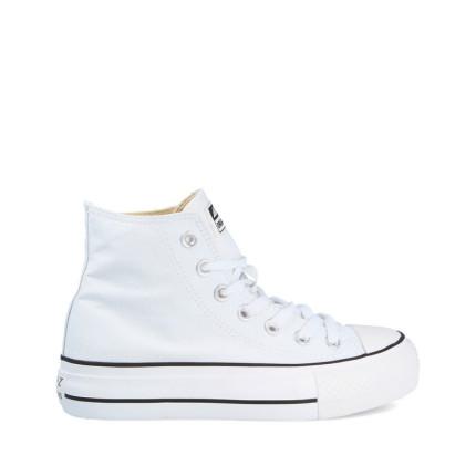 Andy-Z modelo AW0155 con suela doble en negro, botas con cordones de lona suela blanco y lona blanca
