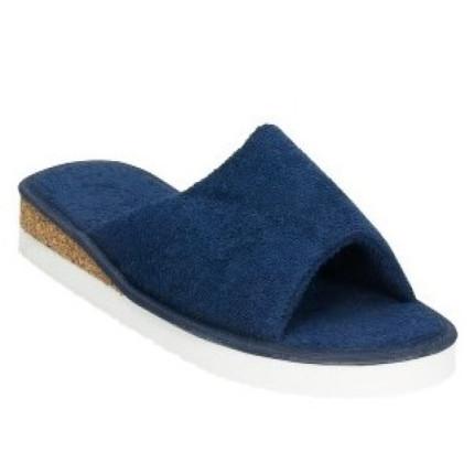 Zapatillas de toalla, rizo azul marino, clásicas con pequeña cuña de corcho superligeras