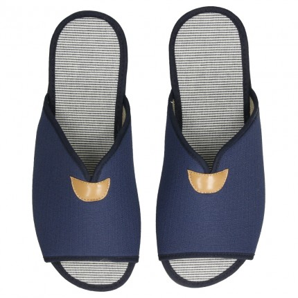 Zapatillas para estar en casa de tela azul marino, planas con suela de goma