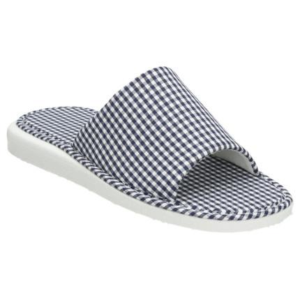 Zapatillas de tela con puntera abierta, planas y estampado vichy en azul marino
