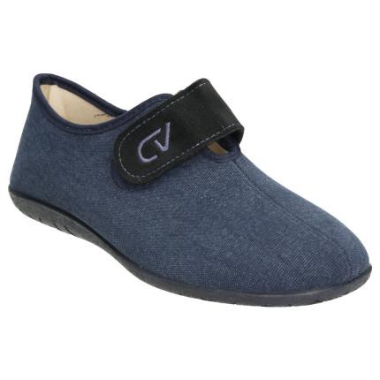 Zapatillas de velcro de hombre en tela de verano color azul