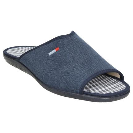 Zapatillas de casa de verano para hombre, pieza empeine en tela azul